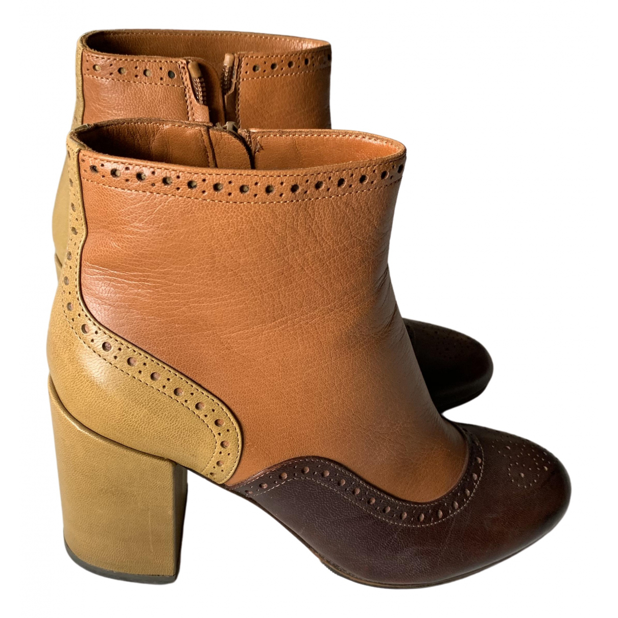 Non Signé / Unsigned \N Multicolour Leather Ankle boots for Women 38.5 IT