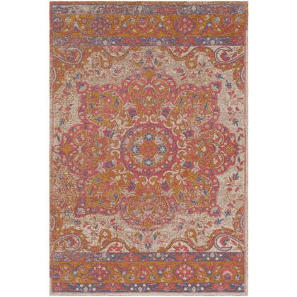 Amsterdam AMS-1016 8' x 10' Rectangle Traditional Rug in Bright Pink  Ivory  Camel  Dark