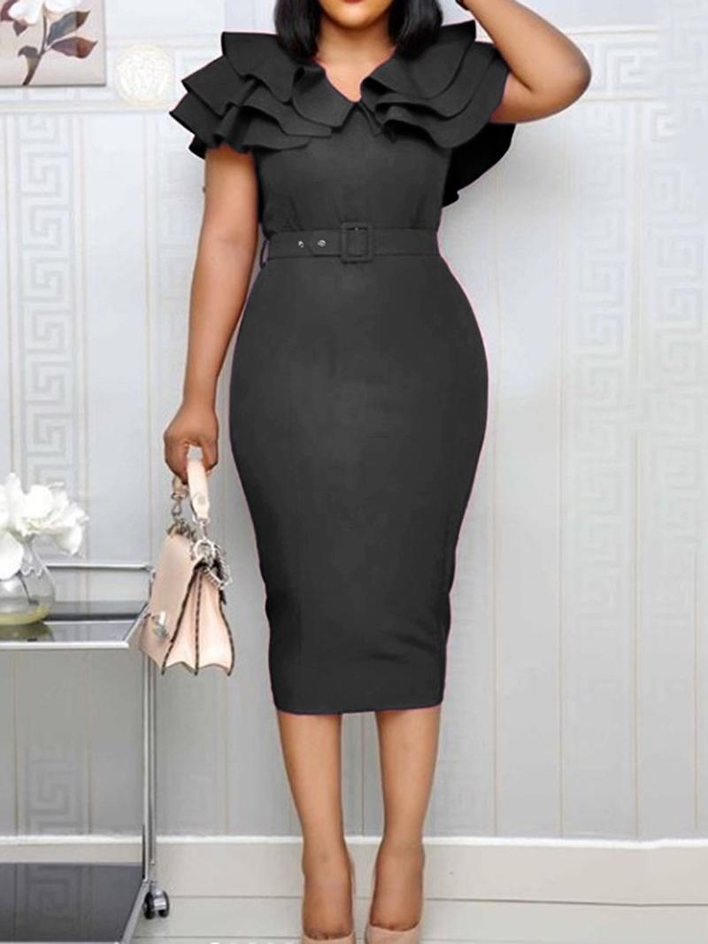 Ericdress Split Short Sleeve Mid-Calf Plain Ruffle Sleeve Bodycon Dress
