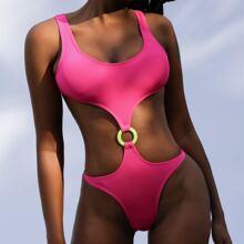 Gerippter einteiliger Badeanzug mit Ausschnitt und Ring Bindung