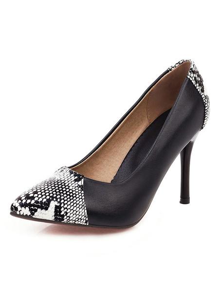 Milanoo Zapatos de tacon alto para mujer Bombas de punta puntiaguda Tacon de aguja de bloque de color Zapatos elegantes de talla grande