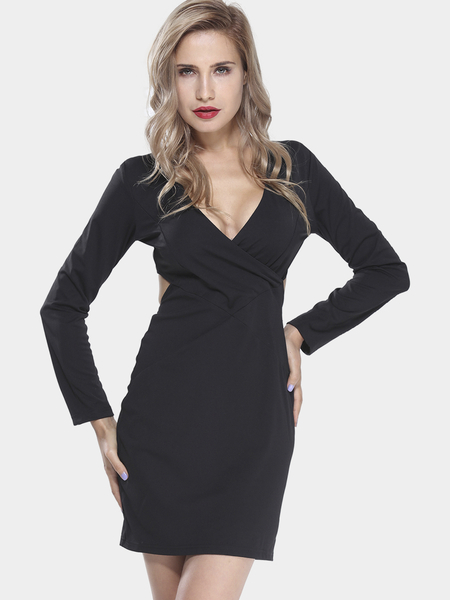 Yoins Long Sleeve Dress with Cut Out Back