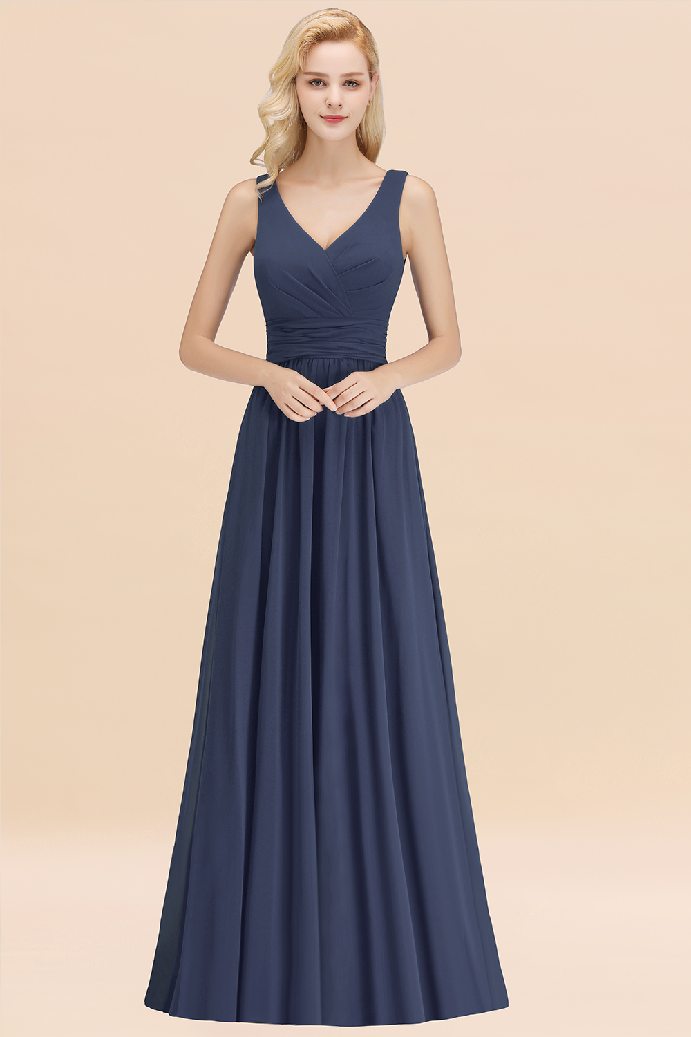 BMbridal Modest Sleeveless V-Neck Long Chiffon Bridesmaid Dress Online with Ruffle