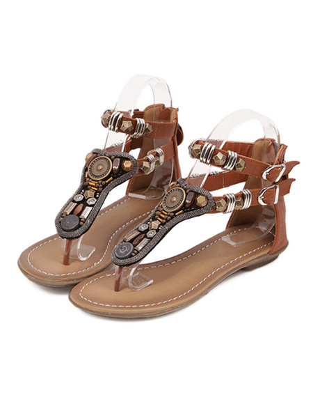 Milanoo Brown Boho Flat Sandals Women Shoes Brown Thong Metal Detail T Type Ankle Strap Sandal Shoes