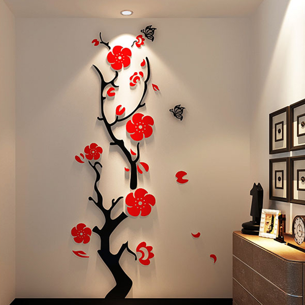 Red/Light Purple Titoni and Butterfly Acrylic 3D Waterproof Wall Stickers
