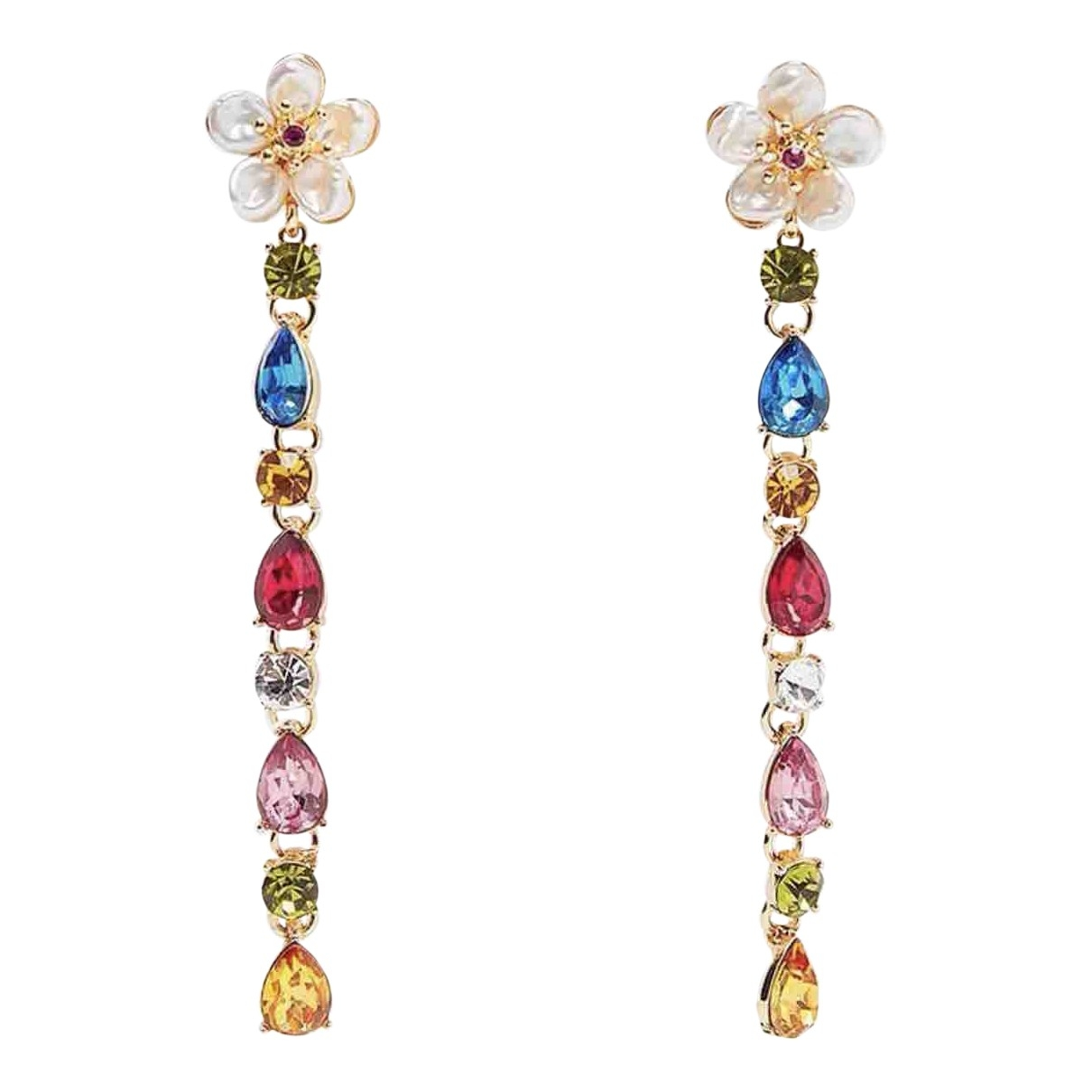 Non Signé / Unsigned Motifs Floraux Gold Metal Earrings for Women \N