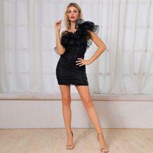 DKRX Organza Kleid mit einer Schulter frei und Ruesche