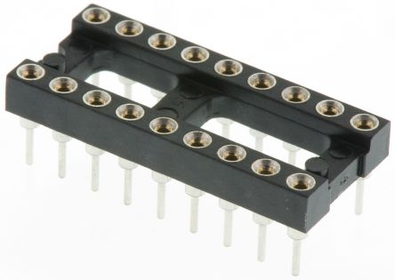 Preci-Dip 2.54mm Pitch Vertical 18 Way, Through Hole Turned Pin Open Frame IC Dip Socket, 1A (5)