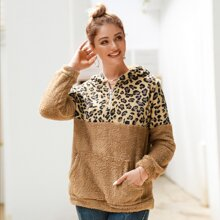 Leopard Panel Kangaroo Pocket Teddy Hoodie