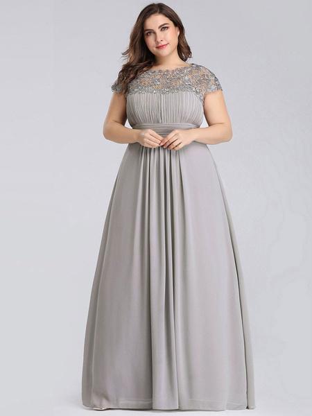 Milanoo Prom Dress Jewel Neck A Line Sleeveless Floor Length Lace Pageant Dresses