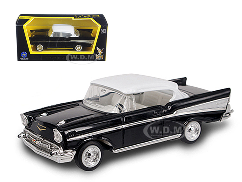 1957 Chevrolet Bel Air Black with White Top 1/43 Diecast Model Car by Road Signature