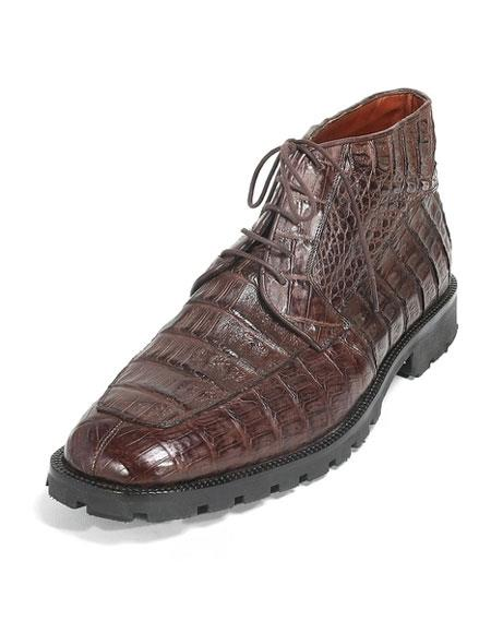 Mens Brown Genuine Caiman Crocodile Belly Hornback Dress Ankle Boot