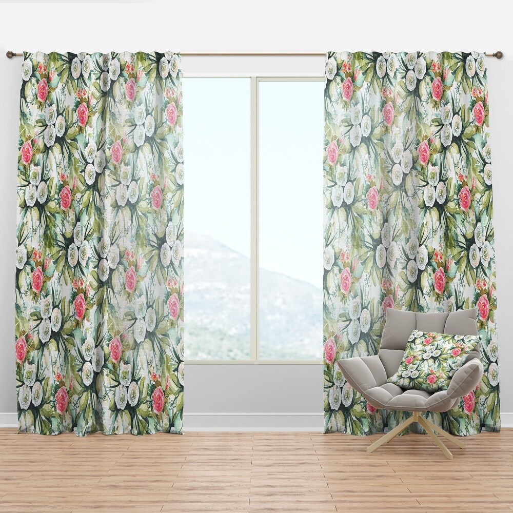 Designart 'White and Red Roses in Seamless Pattern' Floral Curtain Panel (50 in. wide x 90 in. high - 1 Panel)