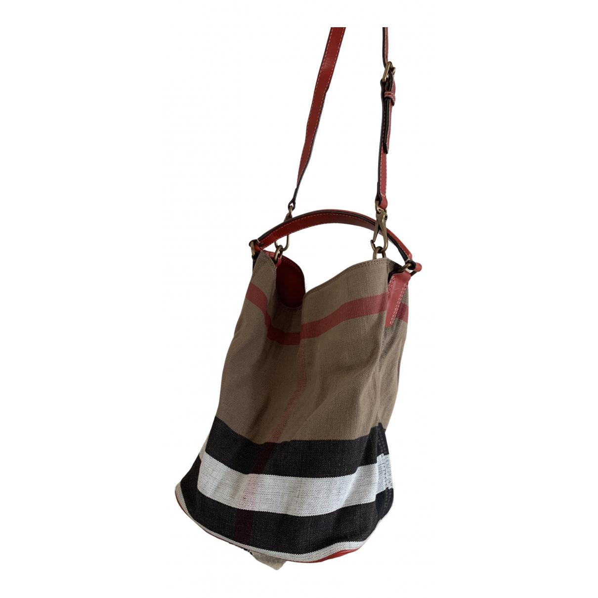 Burberry The Bucket Handtasche in  Rot Leinen