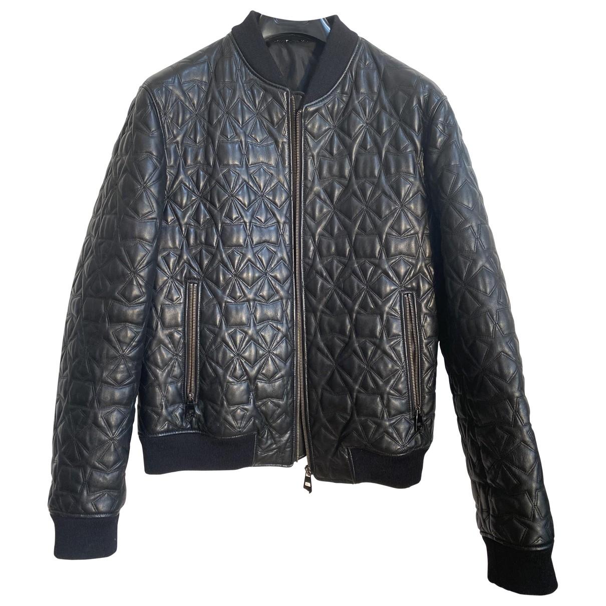 Versace - Vestes.Blousons   pour homme en cuir - noir