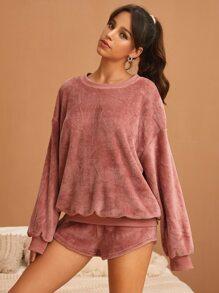 Solid Drop Shoulder Flannel Sweatshirt & Shorts Pajama Set