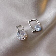 Rhinestone & Letter Decor Stud Earrings
