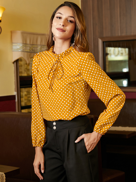 YOINS Yellow Tie Up Polka Dot Blouse