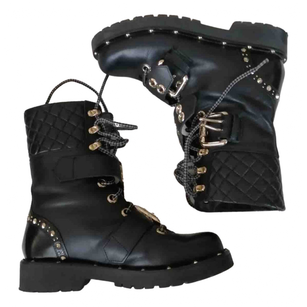Twin Set \N Black Leather Ankle boots for Women 37 EU
