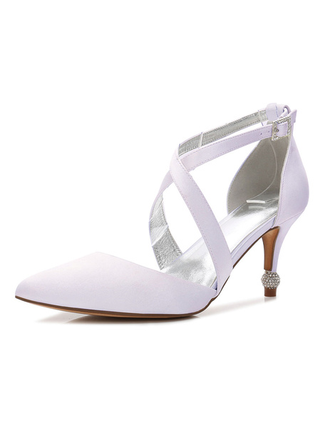 Milanoo Mother Of The Bride Shoes Satin Pointed Toe Criss Cross Wedding Guest Shoes Bridal Shoes