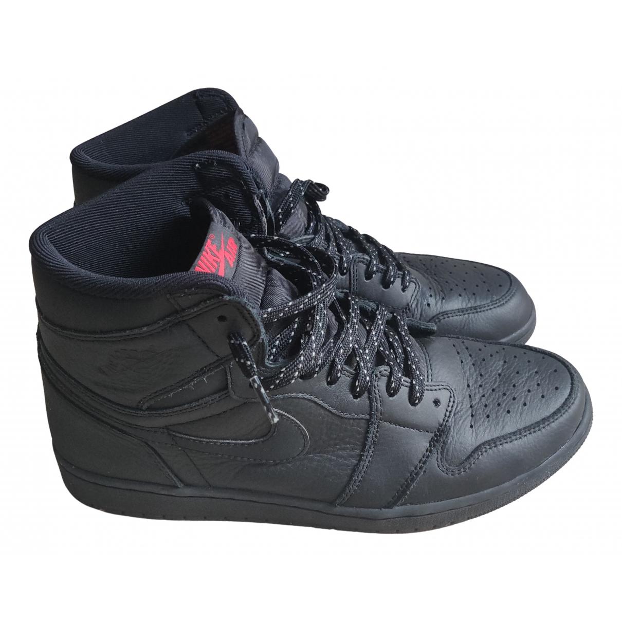 Jordan Air Jordan 1  Black Leather Trainers for Men 45 EU
