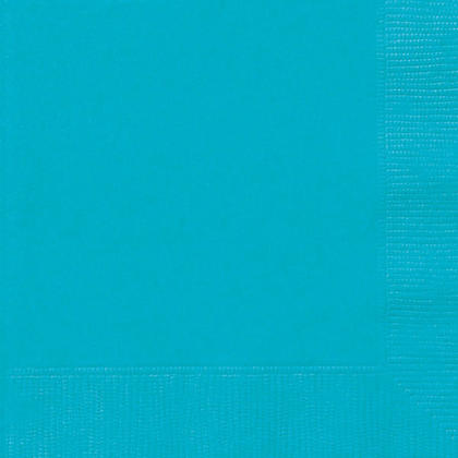 Party Beverage Napkins Solid Color 25*25cm 10*10In 2-Ply Caribbean Teal 20Pcs