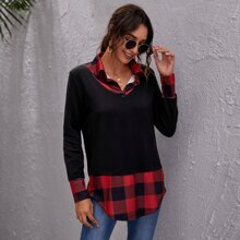 Gingham Colorblock Curved Hem 2 In 1 Pullover