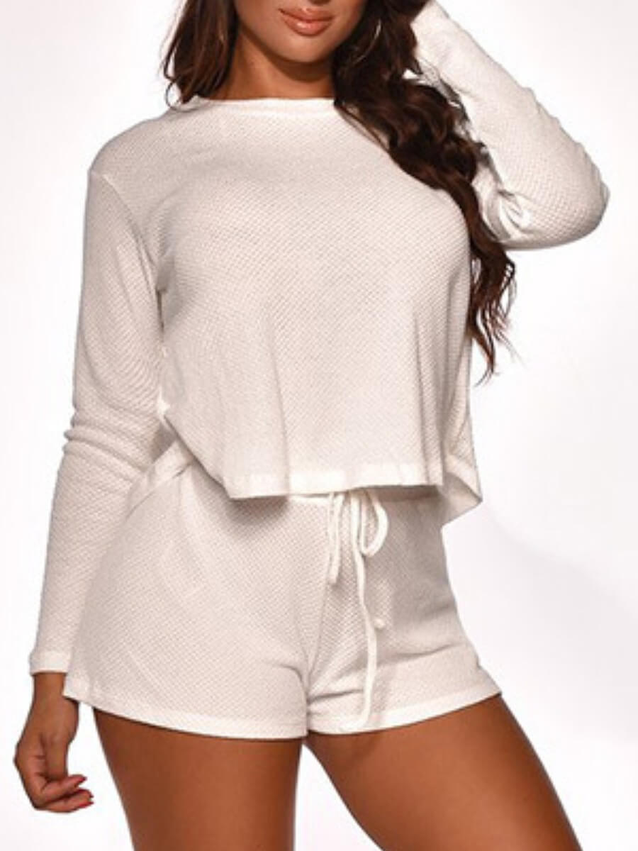 LW Lovely Trendy O Neck Lace-up White Loungewear