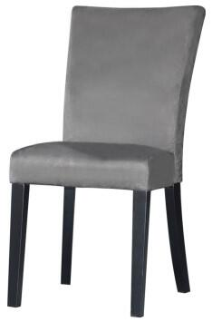 Monica Collection MONICA-PRS-SC-Grey Modern Parson Side Chair with Satin Black Tapered Legs and Microfiber Upholstery in Grey