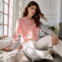 Drop Shoulder Glitter Panel Colorblock Sweater