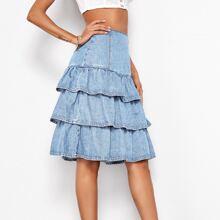 Zip Back Layered Hem Denim Skirt