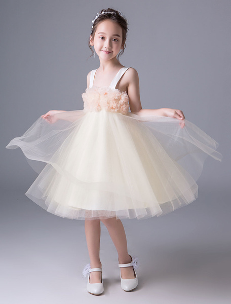 Milanoo Flower Girl Dresses Summer Tulle Wide Strap Knee Length Princess Kids Party Dresses