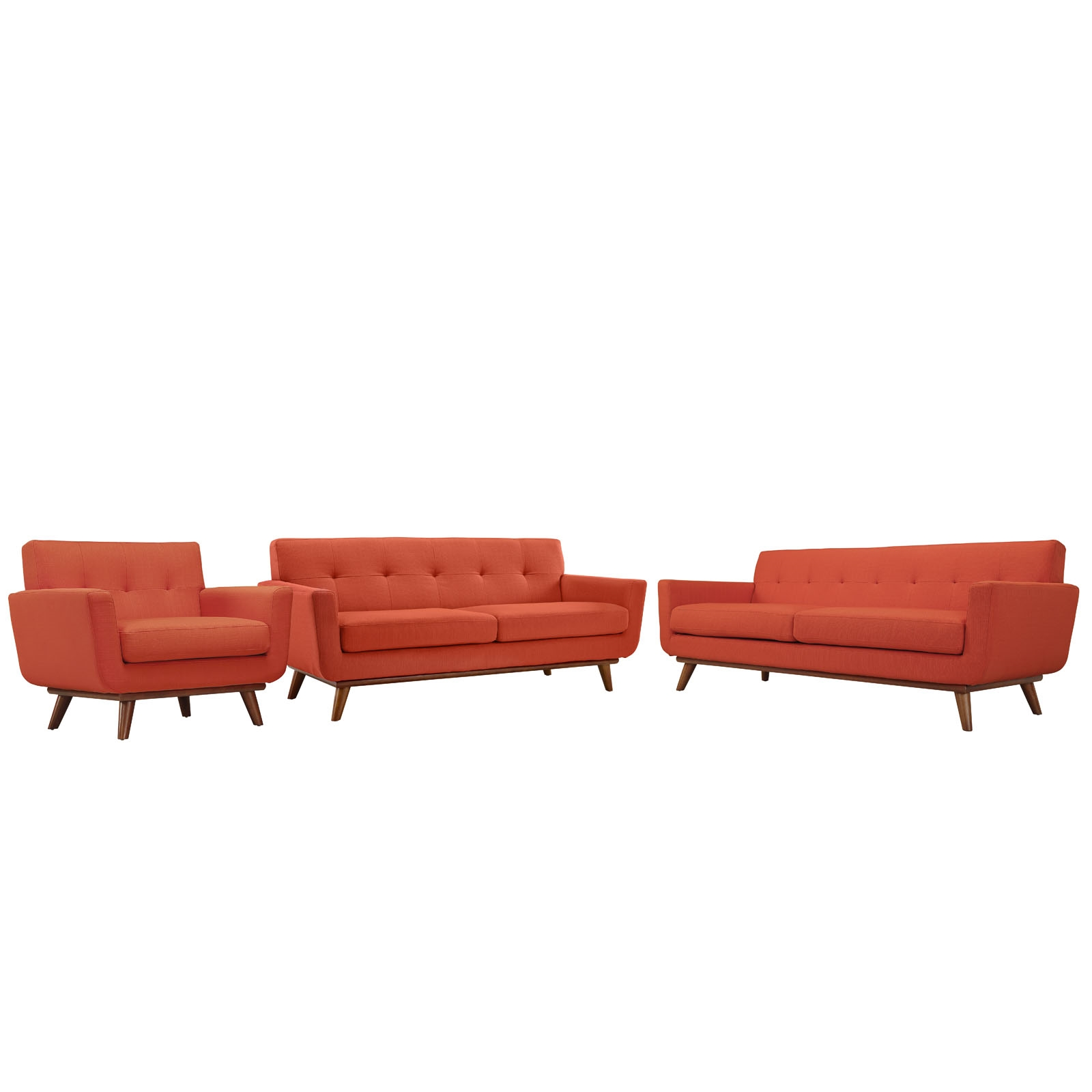 Engage Sofa Loveseat and Armchair Set of 3 in Atomic Red