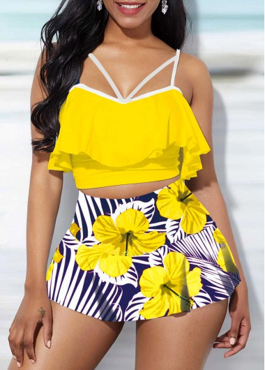 Rosewe Women Yellow Floral Printed Ruffle Overlay High Waisted Cute Swimsuit Spaghetti Strap Two Piece Padded Wire Free Bathing Suit And Pantskirt - M