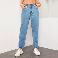 Bleach Wash High-Rise Mom Jeans
