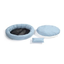 1pc Grid Pattern Round Dog Bed & 1pc Pad & 1pc Pillow