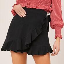 Ruffle Hem Knotted Skirt