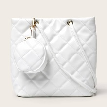 Solid Quilted Shoulder Bag & Coin Purse