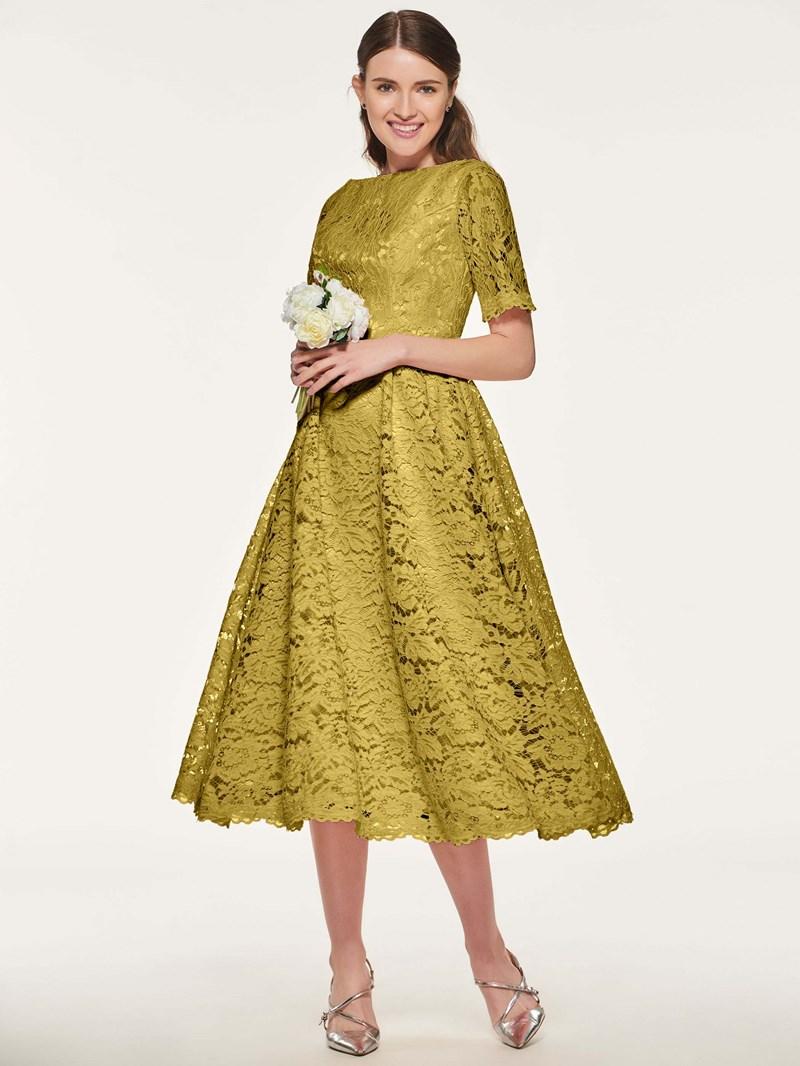 Ericdress Short Sleeve Tea Length Lace Bridesmaid Dress