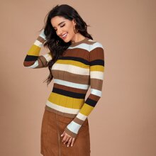 Form Fitted Colorblock Sweater