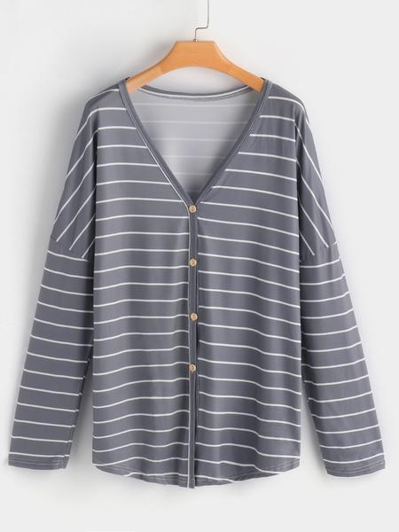Yoins Grey Stripe V-neck Long Sleeves Button Design Shirt