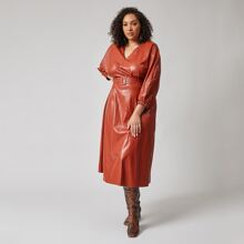 Plus V-neck Puff Sleeve Buckle Belted PU Dress