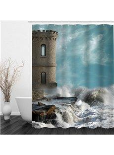 Seaside Castle 3D Printed Bathroom Waterproof Shower Curtain