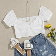 Sweetheart Neck Twist Front Shirred Back Crop Top