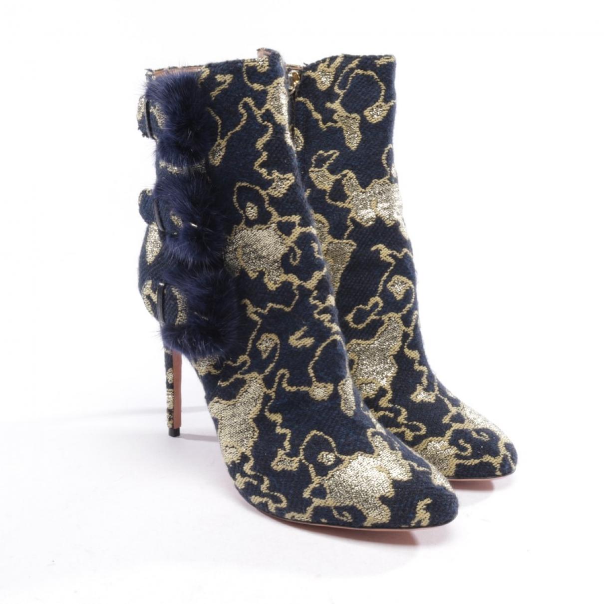Aquazzura - Boots   pour femme en toile - bleu