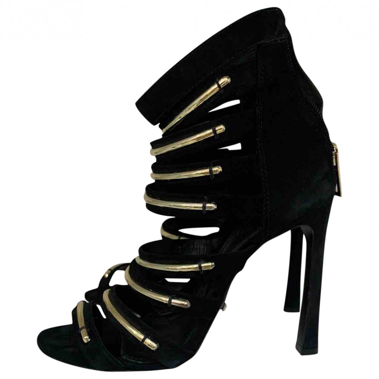Schutz - Sandales   pour femme en suede - noir