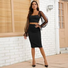 Dobby Mesh Crop Top And Pencil Skirt