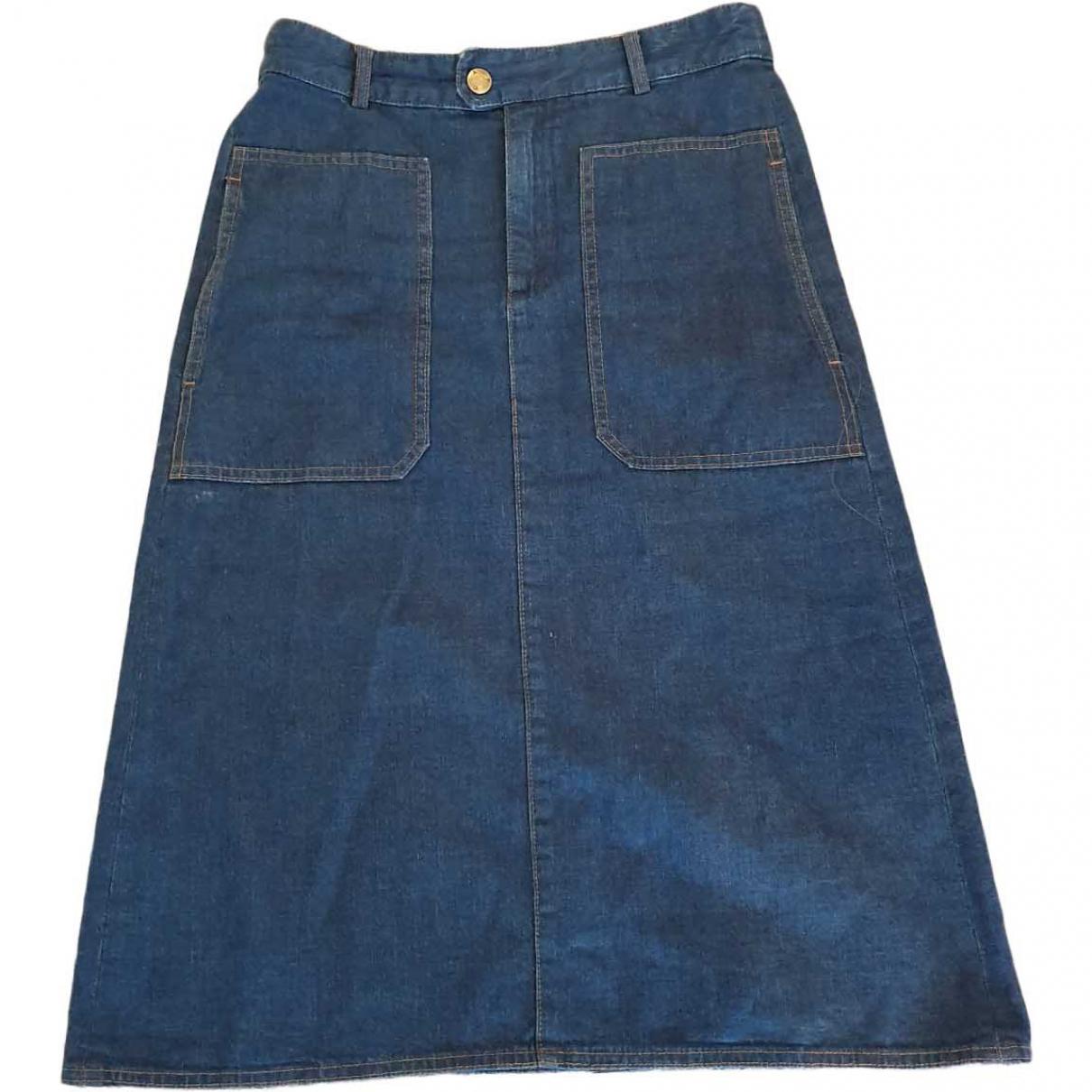 Apc - Jupe   pour femme en coton - bleu