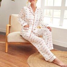 Satin Schlafanzug Set mit Buchstaben Graifk und Kontrast Paspel