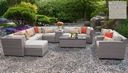 Florence Collection FLORENCE-12b-ASH 12-Piece Patio Set 12b with 3 Corner Chair   4 Armless Chair   1 Ottoman   1 Cup Table   1 Storage Coffee Table